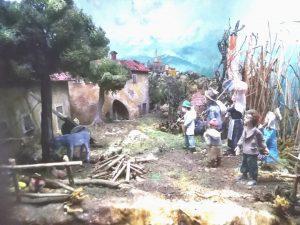 Immagine che ricostruisce le condizioni di vita e lavoro nell'Agro Pontino, ai tempi di Maria Goretti